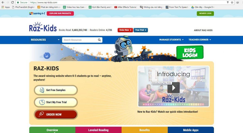 tài khoản đọc trực tuyến Raz-kids